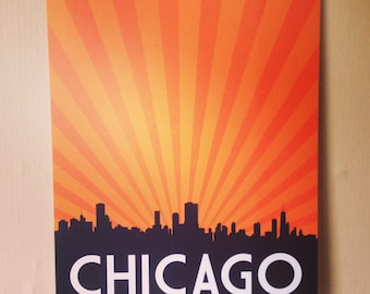 Chicago, Chicago Skyline, Chicago Poster, Chicago Print, Chicago Art, Chicago Sign - 8x10