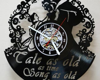 Beauty and the Beast Story Vinyl Record Wall Clock Fun gift Unique Home Decor