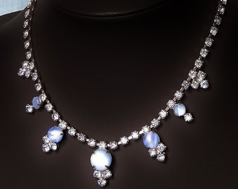 Vintage Choker Necklace Soft Blue Diamonte Rhinestone and Round Claw Set Milk Glass Soft Blue Special Occasion Glittering Silvered Back