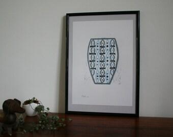 Blue, black and grey vase modernist reduction lino print