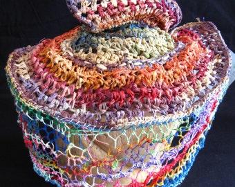 1940s Rainbow Raffia Hat with Needlelace Veil