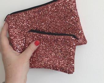 Rose gold evening bag, rose gold clutch bag, rose gold bag, rose glitter bag, rose bag, evening bag, clutch bag