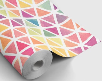 Geometric Triangle Watercolor Peel and Stick Wallpaper | Peel and Stick Temporary Wallpaper | Removable Wall Sticker