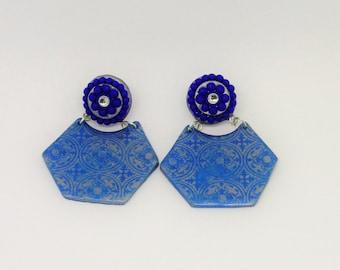 chandbali earrings/handmade polymerclay blue and silver silkscreen printed/lightweight elegant stylish trendy designer kundan stud earrings