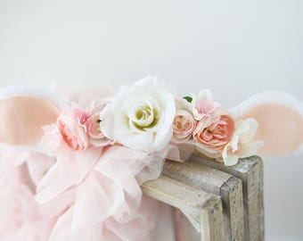 Little Lamb blush pink white and ivory silk flower lamb sheep ears headband newborn prop