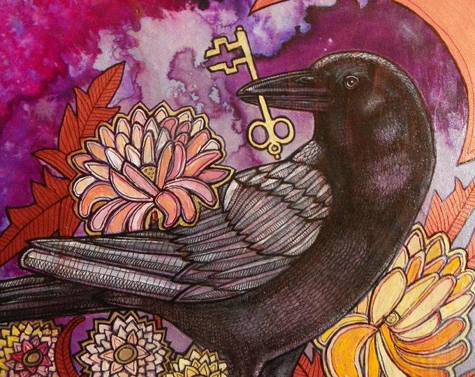 Crow and Key Fine Art Print