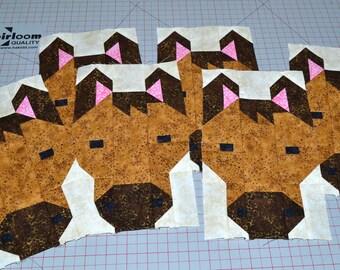 Horse Quilt BLOCK Pattern, PDF, Instant Download, modern patchwork, farm animal, cute, pony