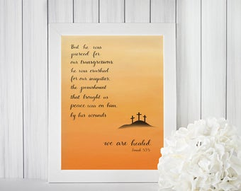 Easter Art, Christian printable, Pierced for our transgressions, We are healed digital download, Easter print