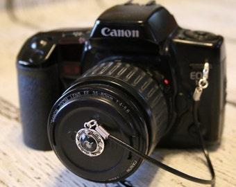Lens Cap Leash - Black Jewel Lens Cap Strap - Lens Cap Holder - Lens Cap Pouch - Lens Cap Pocket - Camera Strap Lens Cap - Camera Accessory