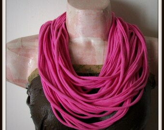 Pink Infinity Multi Strand T shirt Jersey Scarf