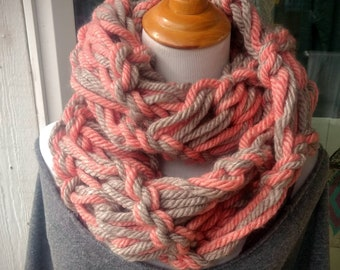 Arm knit Infinity Scarf - Oatmeal & Apricot wool blend