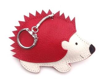 Hedgehog red leather handbag red leather Hedgehog keychain