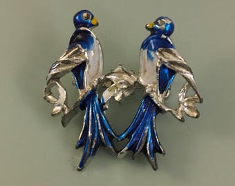 Vintage  2 birds on a branch brooch