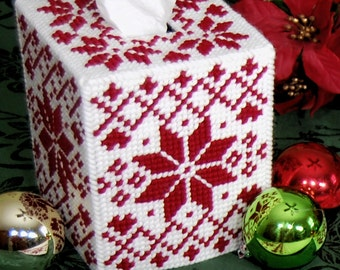 PATTERN: Nordic Redwork Tissue Box Cover in Plastic Canvas