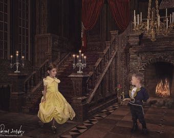 Beauty and the Beast Digital Backdrop - Princess digital background - Princess Belle Background - Ballroom - Castle - Digital Photo Backdrop