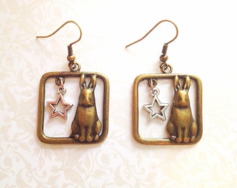 Bunny Rabbit Earrings. Brass Bunny. Square. Silver Stars. Vintage Style. Dangle Earrings. Brass. Antique Gold. Animal. Cute. Whimsical. Gift
