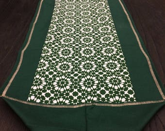 Table Runner, Table Scarf, End Table Scarf, Large Kitchen Table Runner, Farmhouse Decor, Decorative Scarf, Green Rosettes with Green Boarder