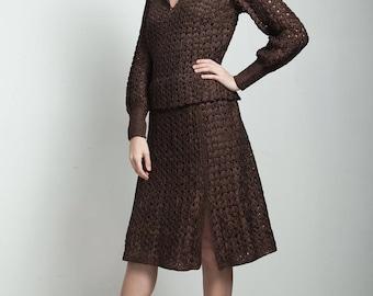 vintage 40s brown macrame ribbon dress slit long sleeves LARGE L