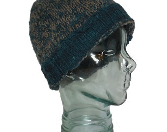 Hat Gray Blue Wool Fisherman Style Beanie