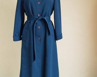 Vintage Navy Blue 70's Style Long Jacket