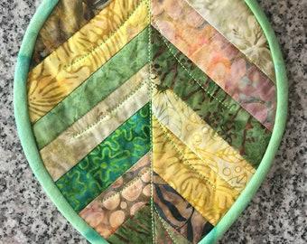 Mug Rug Leaf All Batik fabrics Free Shipping