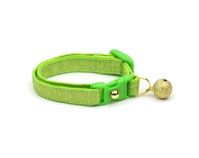 Green Cat Collar - Gold Squiggles on Bright Green - Gold Swirls on Lime - Doodles - Kitten or Large Size
