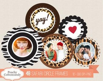 BUY 2 GET 1 FREE 48 Safari circle Frames Clip Art - Scalloped circle Labels digital clipart - zebra cheetah leopard tiger Commercial Use ok