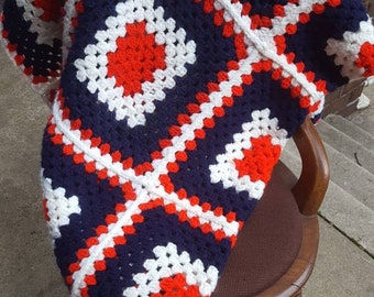 Vintage Granny Square Afghan in Red, White, and Blue, Large Granny Squares