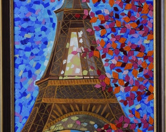 Mixed media art Eiffel Tower painting,acrylic palette knife,wall decor,mixed media canvas,Handmade fall pink orange red crochet leaves.