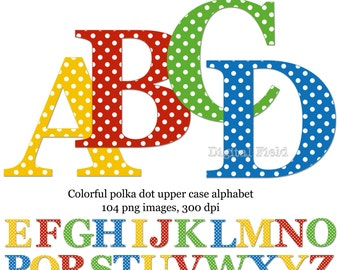 Polka dot uppercase alphabet clip art set - yellow, red, blue, green printable digital letters - instant download