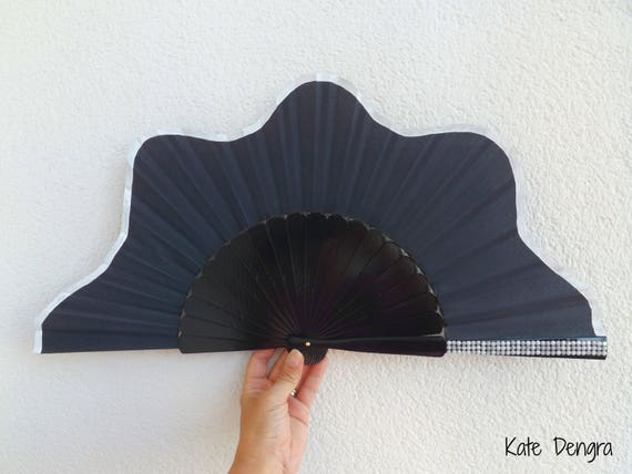 Navy Scalloped with Cream Elegant Hand Fan 32cm XL