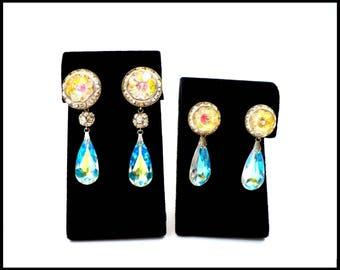LAGUNA Aurora Borealis Crystal Teardrop & Rhinestone Earrings, Gold Rivoli Crystal, Rhinestone Disco Balls, Bridal Earrings, Gift For Her