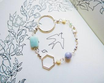Gemstone Bracelet, Amazonite, Mother of Pearls, Aquamarine, Aventurine, Silver, Circle, Hexagon, Honeycomb