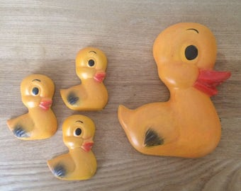 Vintage Chalkware Duck Family Wall Plaques,  Momma Duck with 3 Ducklings, Make Room for Ducklings