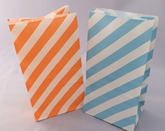 Under the Sea Treat Bags: 10+ Blue and Orange Stripe Paper Candy Bags, Ocean Favor Bags, Goody Bags