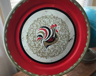 Vintage 1950's Latge Round Metal Tray with Rooster