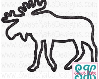 Moose Silhouette Applique Machine Embroidery File {2 sizes} Instant Download with SVG cut file