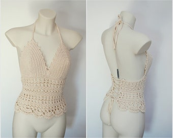 Light beige crochet top, summer beach addict girl's top, unique designer pattern, retro style, festival wear