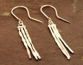 Rain Earrings, dangle and drop rain earrings, hand forged silver earrings, textured silver earrings, 925 sterling silver, handmade