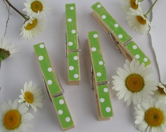 Green & White Decorative Clothespins, Polka Dot Clothespins, Green Clothespins, Painted Clothespins, Green and White Party, Green Clips