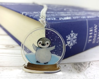 Penguin Snowglobe Clear Acrylic Pendant Silver Plated or Antique Gold Coloured Chain Necklace Winter jewellery