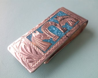 Vintage Sterling Money Clip Horses and Turquoise Inlay Western Horseshoe Mens Gift