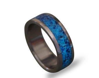 Glow In The Dark Ring Titanium Men S Ring Lapis Lazuli