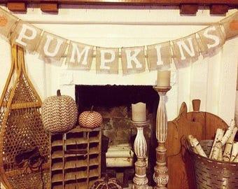 Farmhouse Fall Pumpkin Burlap Banner