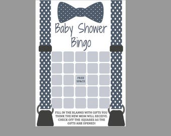 Little Man Bingo Cards Game, Bowtie Baby Shower, Printable, Blank Bingo Cards, Baby Boy, Blue White Gray Polka Dots