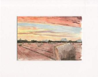 5x7 original watercolor of landscape/field