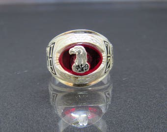 Vintage Sterling Silver Red Ruby 1972 High School Mens Ring Size 10