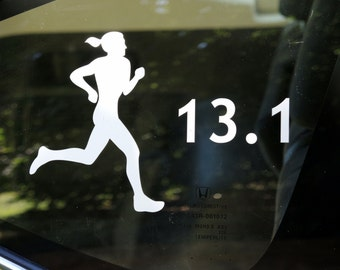 13.1, half marathon female runner decal - car windows, laptop