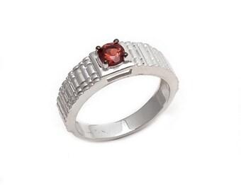Men's Ring 925 Sterling Silver Garnet Gemstone Men's Ring