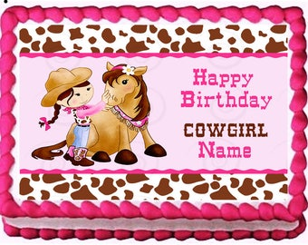 COWGIRL edible cake topper party image